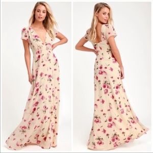 Lulus Girt of Love Cream floral maxi dress XL